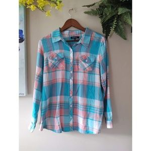 Relativity Beach Plaid Long Sleeve Button Down Top